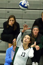28 October 2016:  Rachel Burkman during an NCAA womens division 3 Volleyball match between the DePauw Tigers and the Illinois Wesleyan Titans in Shirk Center, Bloomington IL