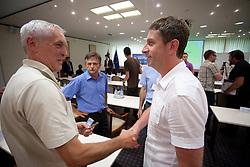 ... and Tomaz Bele, director of FC Luka Koper at  PrvaLiga draw before new football season 2011/2012 in Slovenia, on June 23, 2011, in Hotel Kokra, Brdo pri Kranju, Slovenia. (Photo by Vid Ponikvar / Sportida)