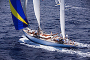 Lone Fox sailing the Old Road Race at the Antigua Classic Yacht Regatta