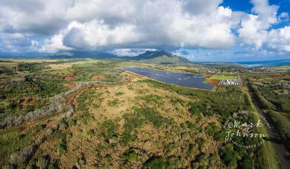 Aerial photograph of the solar panel electricity generating station, Anahola, Kauai, Hawaii