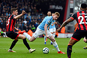 Kevin De Bruyne (17) of Manchester City looks for a way past Chris Mepham (33) of AFC Bournemouth during the Premier League match between Bournemouth and Manchester City at the Vitality Stadium, Bournemouth, England on 2 March 2019.