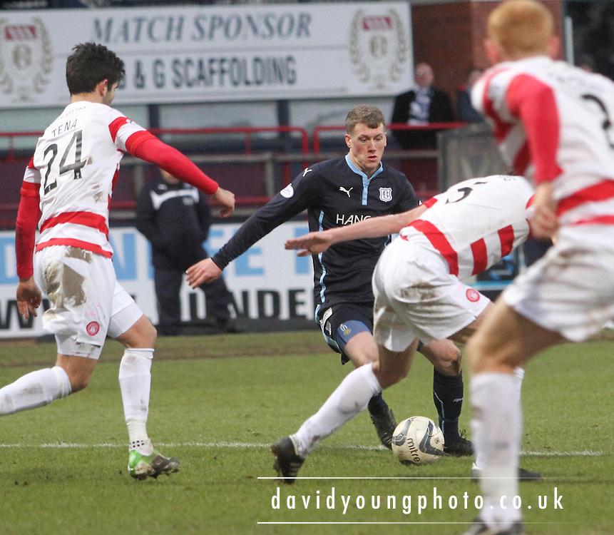 Dundee's Jim McAlister runs at the Hamilton Academical defence -  Dundee v Hamilton Academical, SPFL Premiership at Dens Park <br /> <br /> <br />  - &copy; David Young - www.davidyoungphoto.co.uk - email: davidyoungphoto@gmail.com