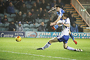 Peterborough United midfielder Gwion Edwards (7) gets in a shot during the EFL Sky Bet League 1 match between Peterborough United and Chesterfield at London Road, Peterborough, England on 10 December 2016. Photo by Nigel Cole.