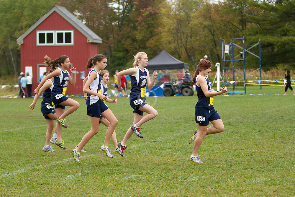 Festival of Champions High School Cross Country meet, Yarmouth girls team warmup