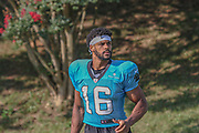 Carolina Panthers wide receiver Andre Levrone (16) as he exits the field after day two during training camp at Wofford College, Saturday, July 27, 2019, in Spartanburg, S.C. (Brian Villanueva/Image of Sport)