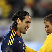 Radamel Falcao, Colombia, (left) and Neymar, Brazil, before the Brazil V Colombia International friendly football match at MetLife Stadium, New Jersey. USA. 14th November 2012. Photo Tim Clayton
