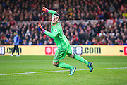 Chelsea goalkeeper Thibaut Courtois (13) watches the ball go wide during the Premier League match between Middlesbrough and Chelsea at the Riverside Stadium, Middlesbrough, England on 20 November 2016. Photo by Simon Davies.