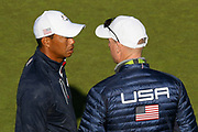 Tiger Woods (Usa) and Jim Furyk (captain) during the practice round of Ryder Cup 2018, at Golf National in Saint-Quentin-en-Yvelines, France, September 27, 2018 - Photo Philippe Millereau / KMSP / ProSportsImages / DPPI