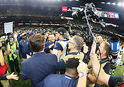 Jan 20, 2019; New Orleans, LA, USA; Los Angeles Rams head coach Sean McVay smiles while celebrating with quarterback Jared Goff (16) after the NFC Championship at Mercedes-Benz Superdome against the New Orleans Saints. The Rams beat the Saints in overtime 26-23 and head to Super Bowl 53 in Atlanta. (Steve Jacobson/Image of Sport)