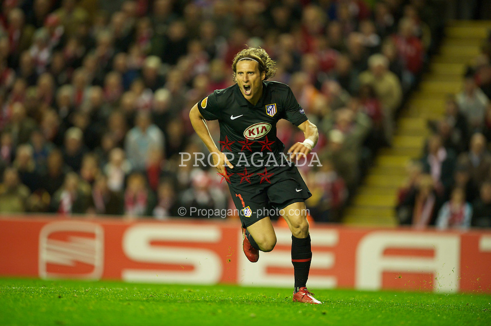 LIVERPOOL, ENGLAND - Thursday, April 29, 2010: Club Atletico de Madrid's Diego Forlan celebrates scoring a crucial away goal against Liverpool during the UEFA Europa League Semi-Final 2nd Leg match at Anfield. (Photo by: David Rawcliffe/Propaganda)