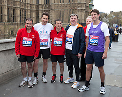 © Licensed to London News Pictures. 16/04/2012. London, U.K..Shadow Chancellor Ed Balls and MPs Edward Timpson, Alun Cairns, Graham Evans, Chris Kelly, Phillip Lee, and Jack Lopresti  in their running kit ahead of Sunday's London Marathon..Photo credit : Rich Bowen/LNP