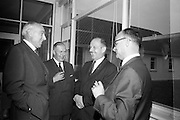 21/06/1965<br /> 06/21/1965<br /> 21 June 1965<br /> Cutting first sod for the Irish-Swiss Institute of Horology, Blanchardstown, Dublin. The institute, that was to hold courses in watch repairing,was due to an agreement between the Department of Education and the Swiss Watch Industry. Photographed at the ceremony were (l-r): The Swiss Ambassador to Ireland, Mr. Julien Rossat chatting with three delegates of the Swiss Watch Industry, Mr. Andre Chappuis; Mr. P.A. Tschudin and Mr. Mx Lohner.