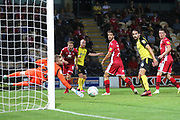 Burton Albion forward Liam Boyce (27) shoots wide of goal during the EFL Cup match between Burton Albion and Morecambe at the Pirelli Stadium, Burton upon Trent, England on 27 August 2019.