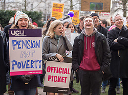 © Licensed to London News Pictures. 05/03/2018. Bristol, UK. University and College Union (UCU) nation wide strike. Rally at the University of Bristol Wills Memorial Building. Members of the UCU trade union begin a second week of strikes at the University of Bristol, holding a picket and rally outside the university administrative centre Senate House, where some students have occupied part of the building, hanging a banner and waving a red flare from the roof. Lecturers and other university staff are holding an escalating wave of strikes over a four-week period at 61 universities across the country over a change in their pensions. The dispute centres on proposals to end the defined benefit element of the Universities Superannuation Scheme (USS) pension scheme. UCU says this would leave a typical lecturer almost £10,000 a year worse off in retirement than under the current set-up. Photo credit: Simon Chapman/LNP