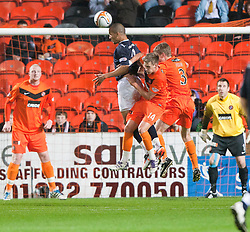 Falkirk's Farid El Alagui heads wide..Half-time. Dundee Utd 0 v 0 Falkirk. Scottish Communities League Cup, 25/10/2011..Pic © Michael Schofield.