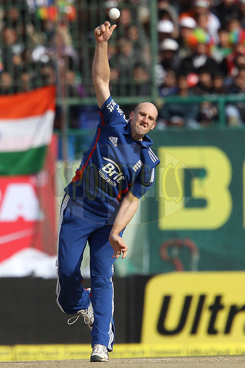 James Tredwell of England during the 5th Airtel ODI between India and England held at the HPCA Stadium in Dharamsala, Himachal Pradesh, India on the 27th January 2013..Photo by Ron Gaunt/BCCI/SPORTZPICS ..Use of this image is subject to the terms and conditions as outlined by the BCCI. These terms can be found by following this link:..http://www.sportzpics.co.za/image/I0000SoRagM2cIEc