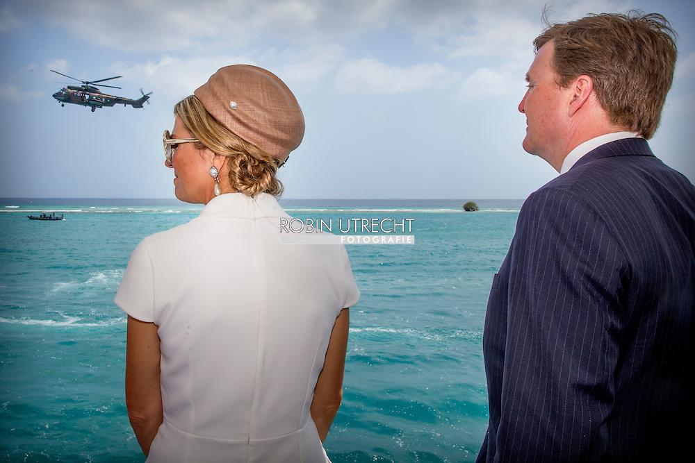 1-5-2015 ARUBA -  King Willem-Alexander and Queen Maxima  visit the Zr.Ms. Zeeland schip and the tall ship Picton Castle the King Willem-Alexander and Queen Maxima of The Netherlands visits Sail Aruba on 1-5-2015 COPYRIGHT Robin Utrecht