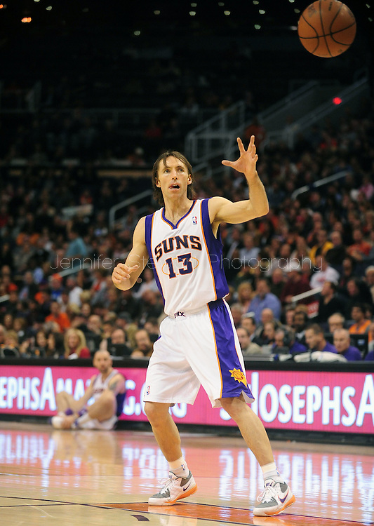 Feb. 4, 2011; Phoenix, AZ, USA; Phoenix Suns guard Steve Nash (13) reacts on the court against the Oklahoma City Thunder at the US Airways Center. The Thunder defeated the Suns 111-107. Mandatory Credit: Jennifer Stewart-US PRESSWIRE.