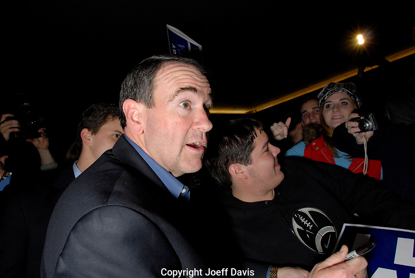 "Former Arkansas Governor and Republican Presidential Candidate Mike Huckabee campaigning at the  ""Huckabee for President"" event at.the Russell House Ballroom on the campus of the University of South Carolina in Columbia, South Carolina, January 18, 2008."