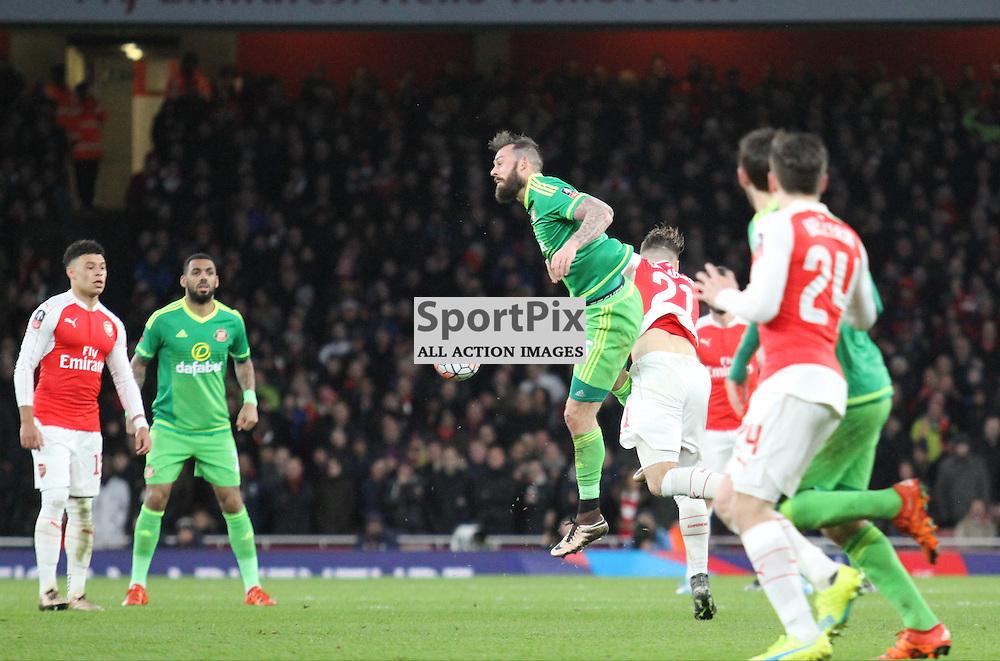 Sunderland Steven Fletcher wins the battle with Arsenal Calum Chambers