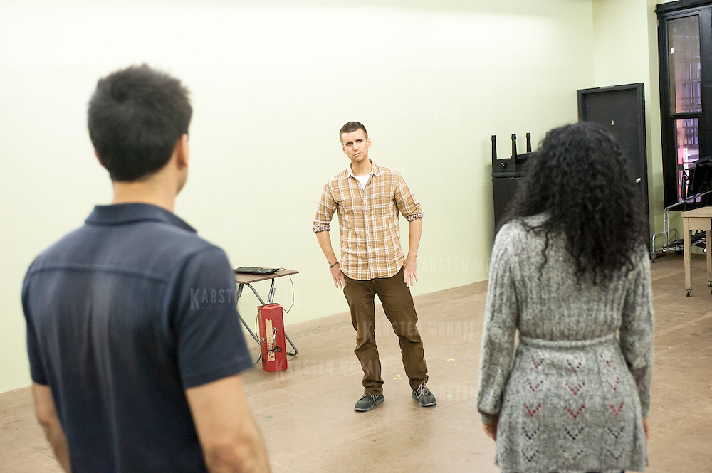 "November 20, 2012 - New York, NY : Actors Ryan Shams, left, Armando Riesco, center, and  Zabryna Guevara perform in an early rehearsal for ""Water by the Spoonful"" at Second Stage Theatre on West 43rd Street in Manhattan on Tuesday night. The play, by Quiara Alegria Hudes, won the 2012 Pulitzer Prize for drama. CREDIT: Karsten Moran for The New York Times"