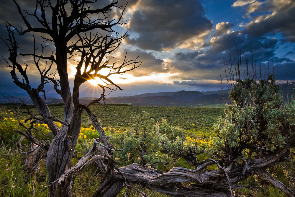 The sun breaks through clouds in late afternoon over the sagebrush of Eagle Colorado.