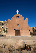 St. Margaret Mary Alacoque Mission sits just above the village of Paraje, located seven miles west of Laguna off historic Highway 66 in Laguna Pueblo, New Mexico. The mission was built by the people of Paraje and dedicated by the archbishop of Santa Fe in 1935. (CNS photo/Nancy Wiechec) See PUEBLO-HISTORY story.