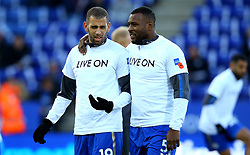 Wes Morgan of Leicester City puts an arm round Islam Slimani of Leicester City - Mandatory by-line: Robbie Stephenson/JMP - 29/10/2017 - FOOTBALL - King Power Stadium - Leicester, England - Leicester City v Everton - Premier League