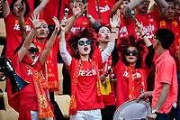 Chinese fans shout slogans to show their support for Chinese national men's football team in the semi-final match against Wales national football team during the 2018 Gree China Cup International Football Championship in Nanning city, south China's Guangxi Zhuang Autonomous Region, 22 March 2018.