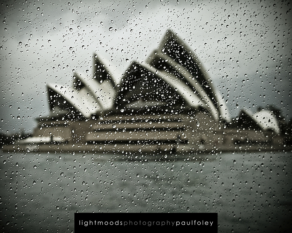 Sydney Opera House, through a rain spotted ferry window
