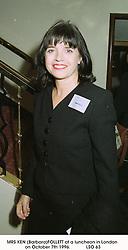 MRS KEN (Barbara)FOLLETT at a luncheon in London on October 7th 1996.<br /> LSO 63