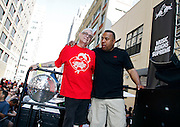"""David DePino and Joey Llanos pose during the Paradise Garage Party """"Larry Levan Day"""" event on King Street in New York City, New York on May 11, 2014."""