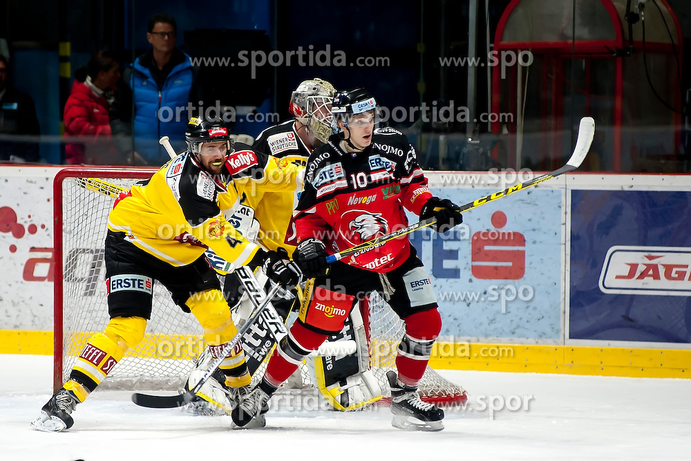 11.10.2015, Ice Rink, Znojmo, CZE, EBEL, HC Orli Znojmo vs UPC Vienna Capitals, 10. Runde, im Bild v.l. Philippe Lakos (UPC Vienna Capitals) Nathan Lawson (UPC Vienna Capitals) David Bartos (HC Orli Znojmo) // during the Erste Bank Icehockey League 10th round match between HC Orli Znojmo and UPC Vienna Capitals at the Ice Rink in Znojmo, Czech Republic on 2015/10/11. EXPA Pictures © 2015, PhotoCredit: EXPA/ Rostislav Pfeffer