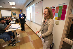 May 2, 2017 - Anaheim, California, USA - Barbara Bennett is all smiles as county superintendent of school Dr. Al Mija?res surprises her with a 2018 Teacher of the Year Award at the School of Continuing Education - North Orange County Community College District in Anaheim, California, on Tuesday, May 2, 2017. ..Bennett, a special education teacher, is one of six teachers who were surprised with the honor by county superintendent of school Dr. Al Mija?res. ..(Photo by Jeff Gritchen, Orange County Register/SCNG) (Credit Image: © Jeff Gritchen, Jeff Gritchen/The Orange County Register via ZUMA Wire)