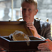 Death mask of Mary Queen of Scots unveiled by the Duke of Hamilton. Edinburgh 1st August 2006<br />