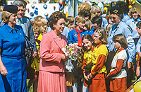 HRH, Princess Margaret, on a two day Royal Visit to N Ireland, mingles with Guides and Brownies at Lorne, Craigavad, near Belfast, a 21 acre estate which offers a wide range of training and recreational facilities for the movement. Princess Margaret is accompanied by Mrs Eva Eves, the Chief Commissioner. 19840075PM3<br />