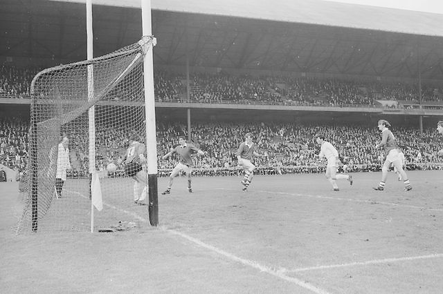 Sligo goalkeeper attempts to save the ball but is unsuccessful during the All Ireland Minor Gaelic Football Final Sligo v. Cork in Croke Park on the 22nd September 1968. Cork 3-5, Sligo 1-10.