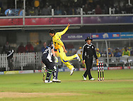 Suresh Raina jumps for delete after catching the ball during match 13 of the Airtel CLT20 between The Superkings and the Victorian Bushrangers held at St Georges Park in Port Elizabeth on the 18 September 2010..Photo by: Deryck Foster/SPORTZPICS/CLT20