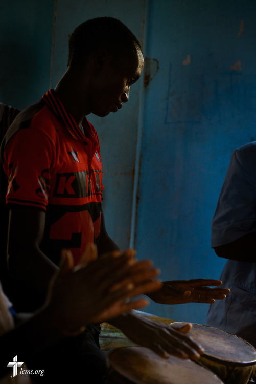 A drummer performs following Bible study at the Lutheran Church of Togo in Lokpano on Monday, Feb. 13, 2017, in Lokpano, Togo. LCMS Communications/Erik M. Lunsford