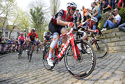 The peloton on the Muur Kapelmuur Geraardsbergen during the 2019 Ronde Van Vlaanderen 270km from Antwerp to Oudenaarde, Belgium. 7th April 2019.<br /> Picture: Eoin Clarke | Cyclefile<br /> <br /> All photos usage must carry mandatory copyright credit (© Cyclefile | Eoin Clarke)