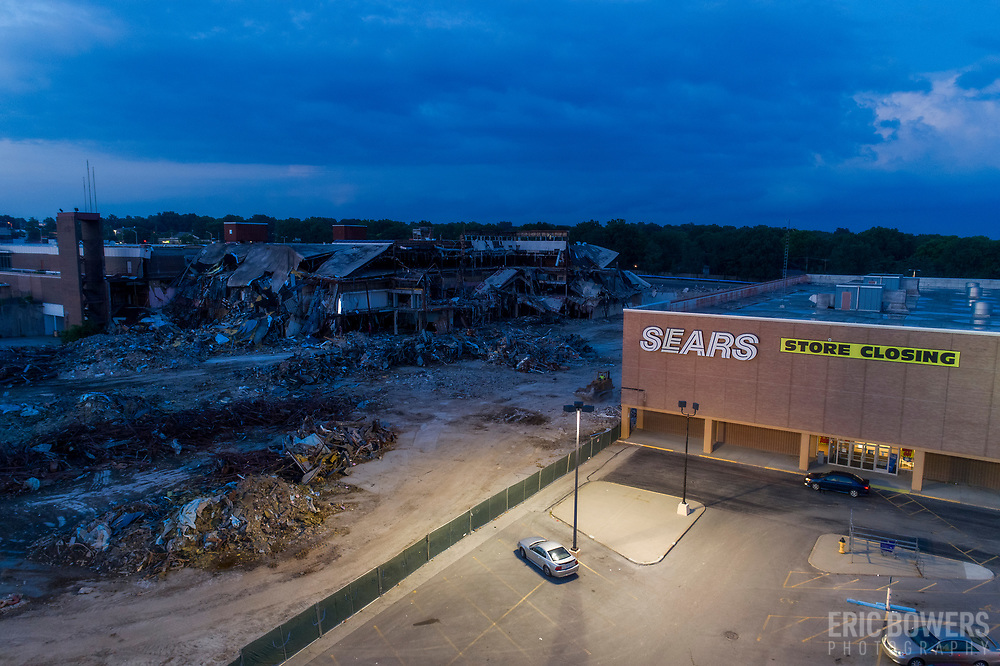Dead mall demolition - teardown of Metcalf South Mall in Overland Park, Kansas, summer 2017