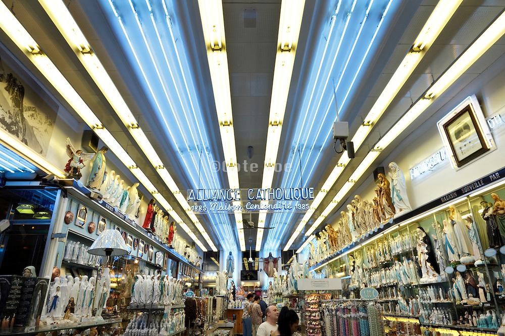 Lourdes France inside a large religious articles shop