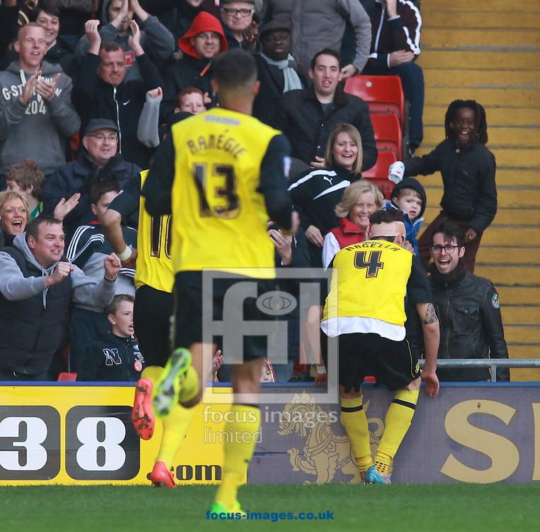 Gabriele Angella of Watford celebrates putting his side back in front against Ipswich Town during the Sky Bet Championship match at Vicarage Road, Watford<br /> Picture by John Rainford/Focus Images Ltd +44 7506 538356<br /> 19/04/2014