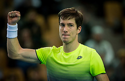 Aljaz Bedene of Slovenia celebrates after playing singles during the Day 2 of Davis Cup 2018 Europe/Africa zone Group II between Slovenia and Poland, on February 4, 2018 in Arena Lukna, Maribor, Slovenia. Photo by Vid Ponikvar / Sportida