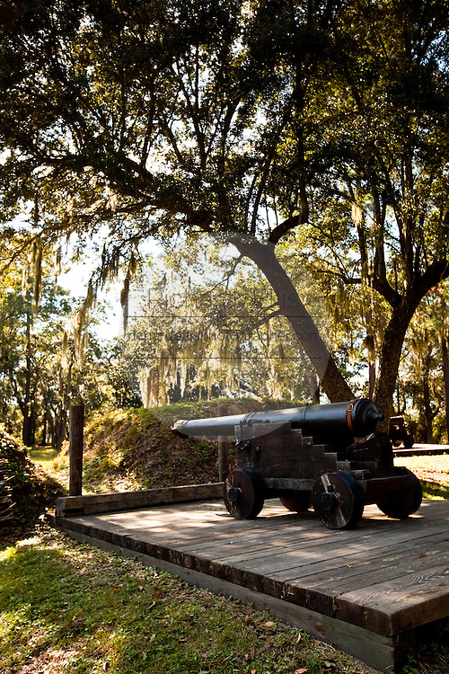 A 17th century cannon along the fortifications of historic Charles Towne Landing, the original settlement of Charleston, SC where English settlers established the city in 1670. The site is now a state park and historic site.