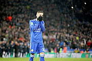 Leicester City midfielder James Maddison (10) can't believe he missed in the shoot out during the quarter final of the EFL Cup match between Leicester City and Manchester City at the King Power Stadium, Leicester, England on 18 December 2018.