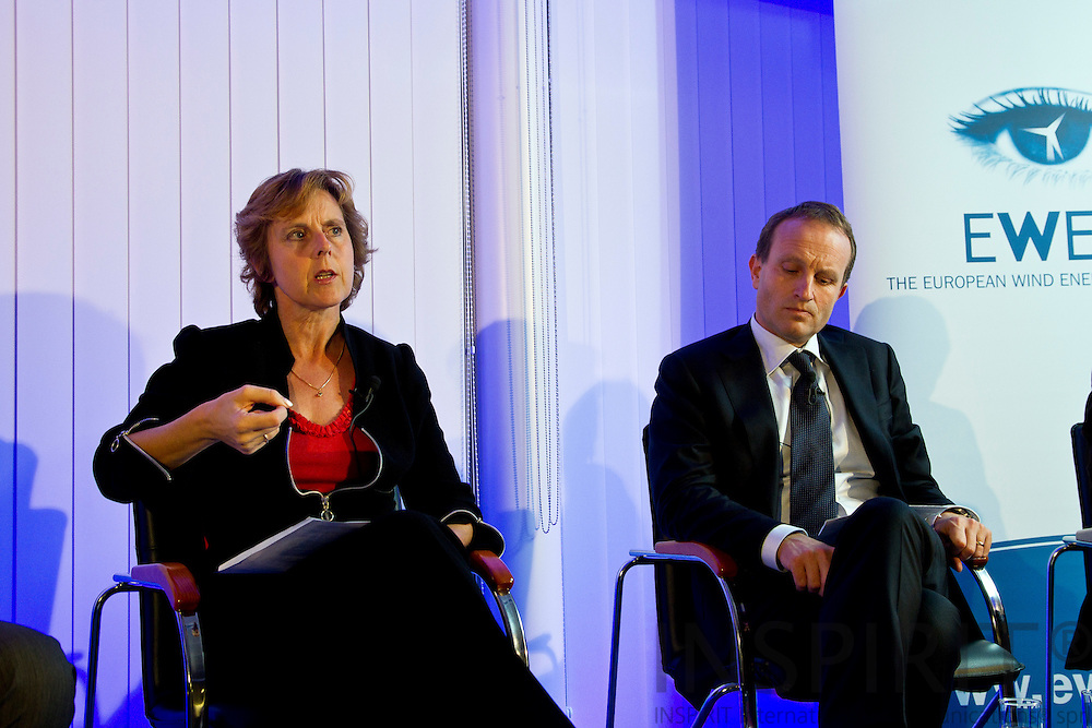 From left:  Connie Hedegaard, European Commissioner for Climate Action, and Martin Lidegaard, Minister for Climate, Energy and Building, Denmark, at the EWEA Debate meeting on Achieving 30% lower emissions in the EU: the role of wind energy & other renewables at the EWEA office in Brussels 8 November 2011. Photo: Erik Luntang/INSPIRIT
