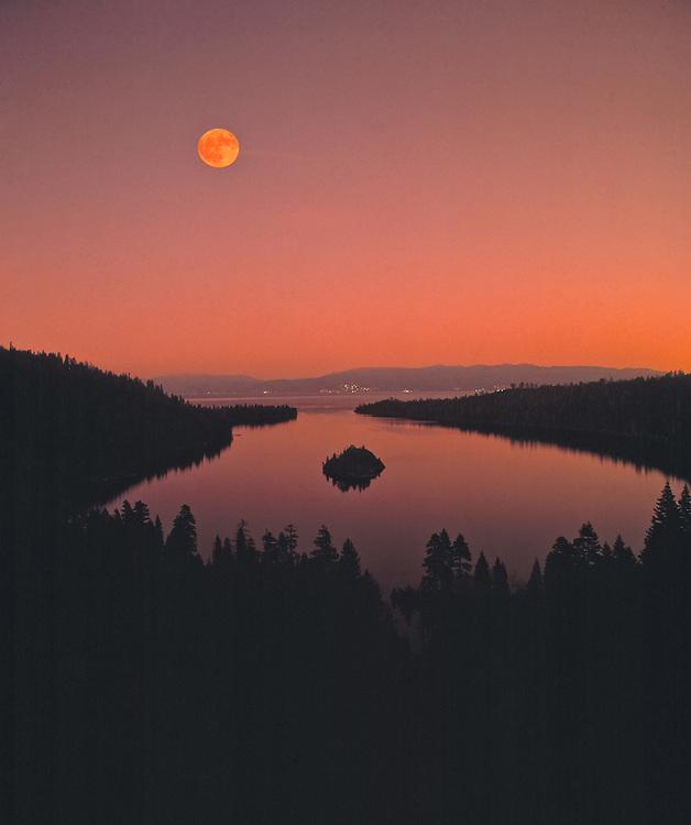 Lake Tahoe Scenic Moon over Emerald Bay
