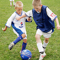 Colin Reidy takes on Owen Ryan at the FAI PEPSI Soccer Camp in Lees Road on Friday.<br /><br /><br /><br /><br /><br />Photograph by Yvonne Vaughan.