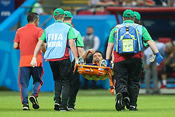 June 24, 2018 - Kazan, Russia - Colombia's Abel Aguilar is carried off the pitch on a stretcher after being injured  during the Russia 2018 World Cup Group H football match between Poland and Colombia at the Kazan Arena in Kazan on June 24, 2018. Colombia won 0-3. (Credit Image: © Foto Olimpik/NurPhoto via ZUMA Press)